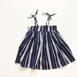 Old Navy blue/white stripe dress EUC 18-24 months